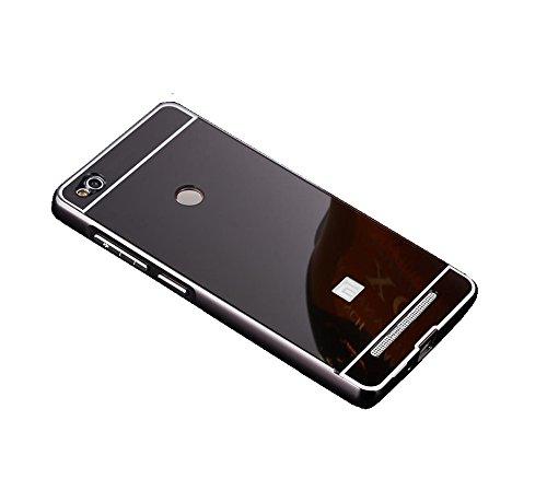 CEDO Premium Luxury Metal Bumper Acrylic Mirror Back Cover Case For Xiaomi Redmi 3S Prime - Black