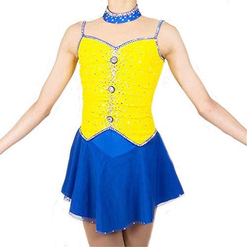 GJR-L Eiskunstlauf Kleid Für Mädchen und Kinder, Handarbeit Eislaufen Kleid Wettbewerb Kostüm Ärmellose Rollschuhkleid Kristalle Gelb Blau