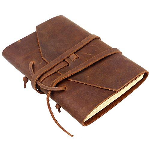 NUOLUX Tagebuch Leder Vintage Leder Notizbuch mit handgefertigten Bindung Seil für Geschenk (braun)