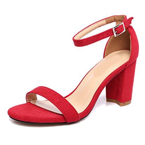 Damen Sandalen Blockabsatz Peep-Toe Nubukleder Knöchelriemchen Rutschhemmend Atmungsaktiv Einfach Elegant Sommerlich Schuhe Rot