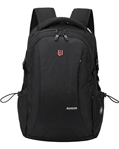 RUIGOR ICON 78 - hochwertiger Trekking Rucksack 28l mit Laptop und Tablet Fach 15,6 Zoll wasserabweisender Outdoor Rucksack inkl. USB-Port schwarzer Herren Arbeitsrucksack