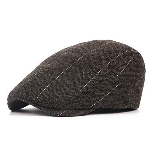 DOLDT1 Hombres Invierno Fieltro Ajustable Gorra Plana Tweed Estilo británico Clásico Pico de Pato Newsboy Gatsby Gorra Irlandesa, Boina cálida de Golf (Color : 2, Size : Free Size)