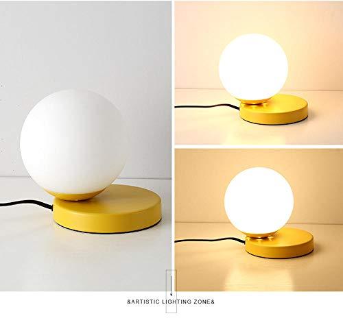 Lámpara de mesa de color rosa con leche blanca, bola de cristal, dormitorio, mesilla de estudio, sala de estar, expositor creativo, simple lámpara de mesa amarilla.