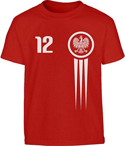 KIDS Polska Polen Fußball Fan Trikot WM Kleinkind Kinder T-Shirt - Gr. 86-128 116/128 (5-7J) Rot