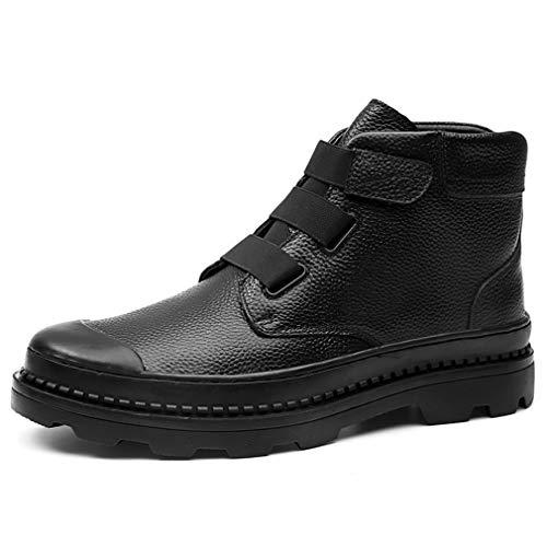YAN Herren Martin Stiefel, europäischen und amerikanischen High-Top-Lederstiefel Herbst Winter dicken Sohlen Outdoor-Boots Casual Tooling Boots (Farbe : Schwarz, Größe : 43)
