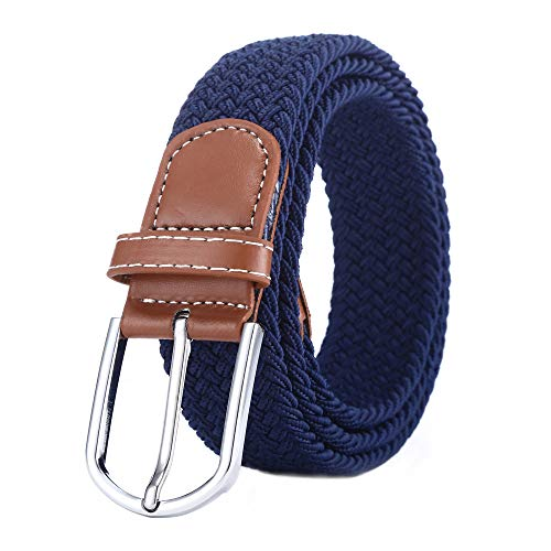 BOZEVON Cinturón elástico tejido - Multi-colores Cinturón de tejido elástico trenzado la tela de estiramiento para Hombres Mujeres Azul