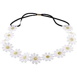 1 diadema con diseño de margaritas blancas, con flores elásticas, para decoración de bodas, festivales, estilo bohemio hippy