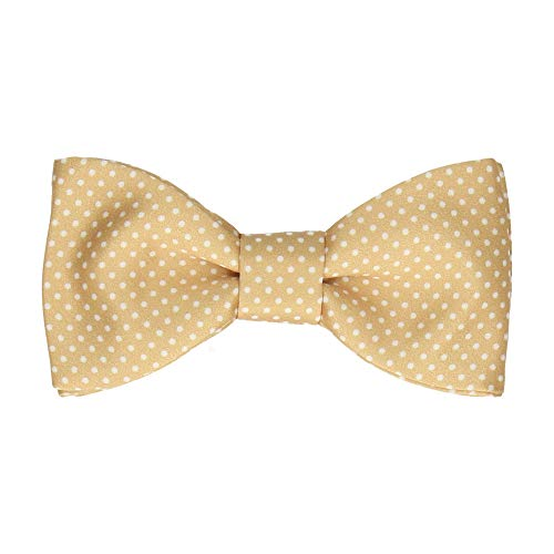 Mrs Bow Tie - Fliege with Pin Dots, Fertig gebundene - Reines Gold/Weiß Gold Pretied Bow Tie