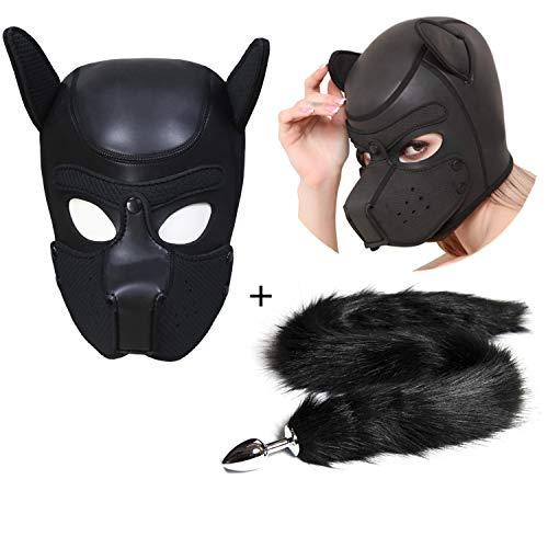 Sexy Sets - Hund Maske Addieren Anal Stopper mit Faux Fox Tail Edelstahl SM Bondage Sklaven Hood SM Sex Spielzeug Welpen Haube Maske für Erwachsene Paar Schlafzimmer Fun (Maske Hund)