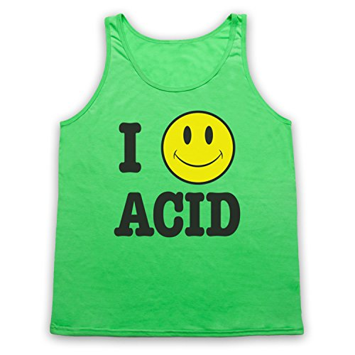 I Love Acid House Smiley Face Tank-Top Weste Neon Grun