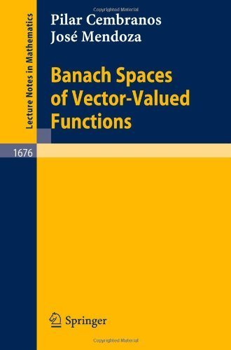 Banach Spaces of Vector-Valued Functions (Lecture Notes in Mathematics) by Cembranos, Pilar, Mendoza, Jose (1997) Paperback