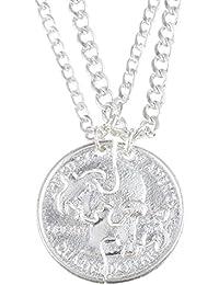 Hexawata Stag Turtle Couple Split Antique Silver Color Coin Pendant Friendship Necklace Set Of 2