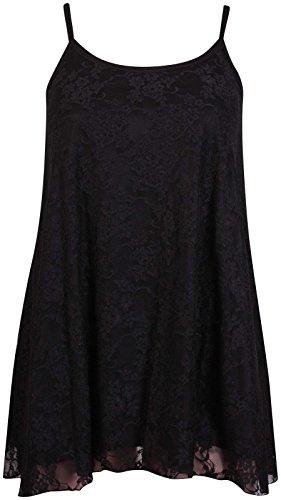Damen Blumenmuster Spitze Gefüttert Ärmellos Cami Strappy Lang Swing  Ausgestellte Weste Top Kleid Plus Größe Schwarz