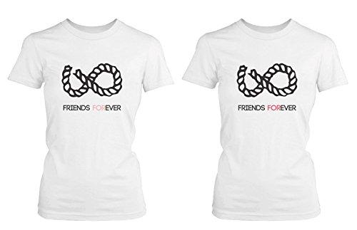 Símbolo de Infinito mejor amigo camisas–color blanco algodón a juego BFF camisetas -  Blanco -  izquierda- XX-Large / derecho- XX-Large