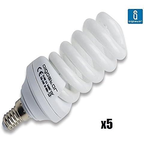 Pack de 5 Bombillas T3, 18W, forma espiral, casquillo fino E14, luz blanca 6400K