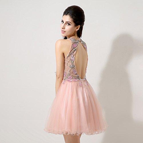 Sarahbridal Damen A-Linie Kleid Rosa - Pink
