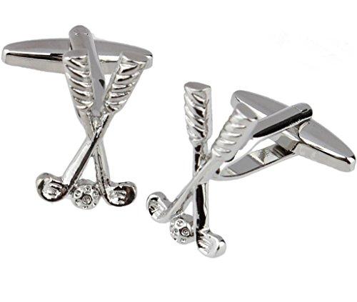 Aienid EIN Paar Herren Shirt Manschettenknöpfe Golf Form Silberne Manschettenknöpfe Französisch -
