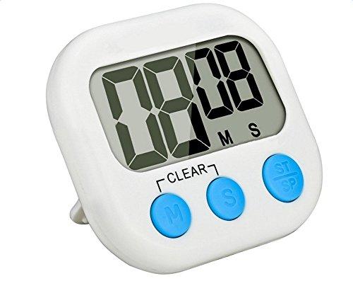ektronischer Timer mit Stoppuhr und Großem Display,Countdown,Elektronische Speicher Timer,Weiss ()
