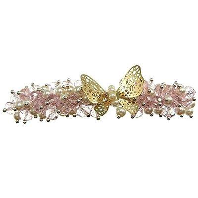 Pince à cheveux fins barrette mèche papillon doré perles nacrées blanche cristal rose facettes shabby chic