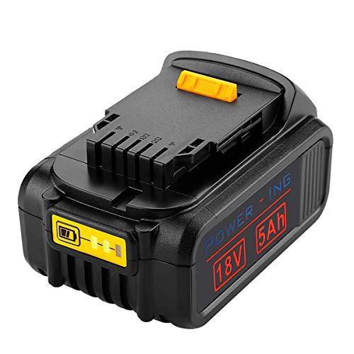 Verbesserte 5000 mAh DCB184-Batterie 18 V / 20 V MAX XR Lithium-Ionen-Ersatzbatterie für DeWalt DCB200 DCB181 DCB182 DCB206 DCB203 DCS355D1 DCD771C2 DCB201 dcb205 5.0AH Akku-Bohrgerät Dewalt Lithium-ionen-batterien