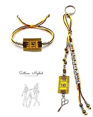1 Porte clés personnalisable J'AIME COUTURE avec prénom ou message + 1 Bracelet MÈTRE À COUTURE Perles tibétaines, cordon satin. Création sur mesure !