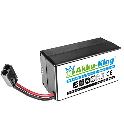 Akku-King XXL Akku kompatibel mit Parrot AR.Drone 2.0, AR Drone Quadrocopter - Li-Polymer 2300mAh - 11,1V