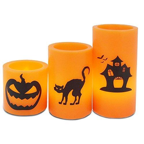 Andrew James Halloween Kerzen LED aus Echtem Wachs mit Gruseligen Schwarzen Designs | 3er-Set | Batteriebetrieben (Für Gruselig-designs Halloween)