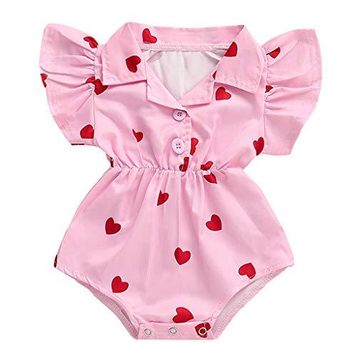 Sananhy Baby Mädchen Runder Kragen Gekräuselte Strampler Bodys Spielanzug Overall Neugeborenes Kleidung Tier Keine Schuhe Weiß, farbig, pink