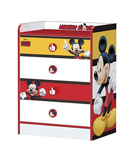Stor - Table de Chevet d'enfant | Mickey Mouse Stripes | Meubles Disney - Dimensions: 40cm x 50,5cm x 30cm - Plusieurs Personnages