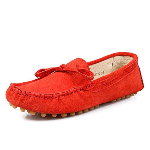 Minitoo pour femmes avec nœud en daim de chaussettes Loafers bateau Chaussures de détente Rouge - rouge