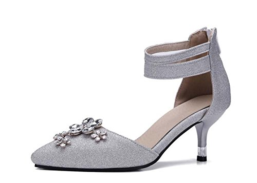 faraly Ladies Diamond Flowers High Heels Pumps Spitze Toe-Schuhe Große Größe 40–43-Schuhe Knöchel-Schuhe Arbeit Schuhe Hochzeit, silberfarben Korallen-heels Und Pumps
