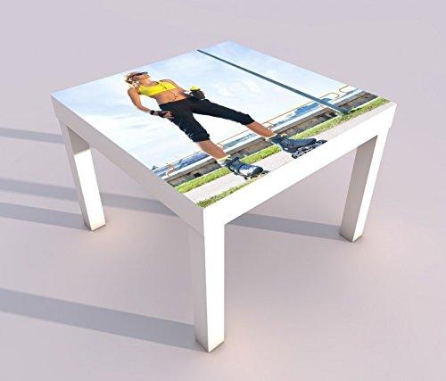 Design - Tisch mit UV Druck 55x55cm Sport Frau Fittness Inline-Skates Inlineskaten Spieltisch Lack Tische Bild Bilder Kinderzimmer Möbel 18A2402, Tisch 1:55x55cm