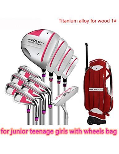 HDPP Golfschläger StückeGolfschläger Mit Rädern Set Bag Stehen Für Junior Mädchen Damen Graphit Oder Stahl Wellentitanlegierung (Junior Golfschläger Graphit)