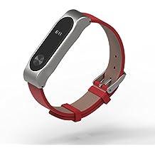 COOSA Correa De Cinturón De Pulsera De Cuero Con Brazalete De Marco De Metal Pulsera Accesorios Para Xiaomi Mi Banda 2 Smart Watch (No Tracker) (3 rojo + sliver, para xiaomi pulsera inteligente 2)