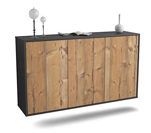 Dekati Sideboard Chattanooga hängend (136x77x35cm) Korpus anthrazit matt | Front Holz-Design Pinie | Push-to-Open