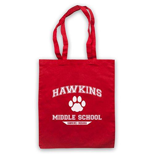 Inspiriert durch Stranger Things Hawkins Middle School Paw Logo Inoffiziell Umhangetaschen Rot