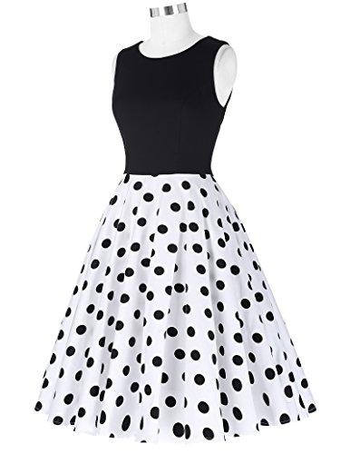 50er jahre kleid vintage rockabilly kleid partykleider hepburn stil polka dots kleid damen swing kleid XL CL0463-2 - 4