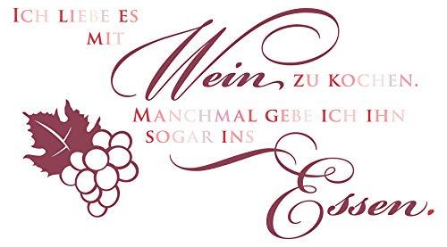 Wandtattoo Spruch Ich liebe es mit Wein zu kochen Spruch in rot