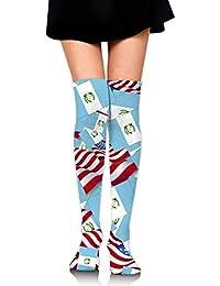 suzhouxiu Guatemala Flag with America Flag Womens Knee High Socks Long Socks Sport Socks Thin For