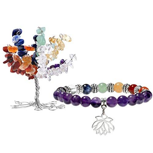 JOVIVI 7 Chakras Geldbaum Lebensbaum Dekoration + Amethyst Lotus Balance Reiki Yoga-Armband Stein Dekor Schmuck Set (Weihnachten Dekorationen Für Das Büro)
