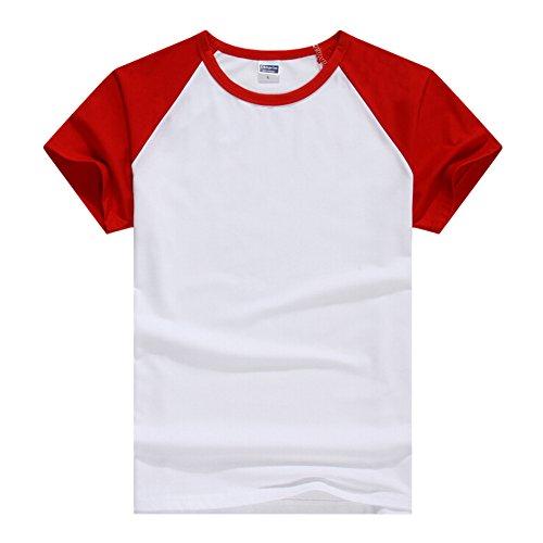 Butterme Unisex Damen Männer Casual Kurzarm Lycra Baumwolle Baseball T-Shirt Raglan Jersey Shirt (Schwarz-Damen,L) Rot-Damen