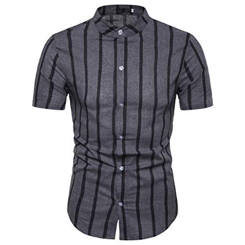 KUKICAT Herren Top Männer Casual Sommer Solid Button Kurzarm Hawaii T-Shirt Top Blusen -
