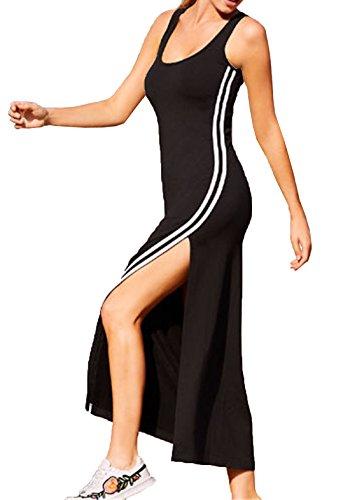 fc7a161701ea Caratteristiche ed informazioni su oufour estate vestito donna lungo con  spacco laterale bianco righe cucitura partito vestiti rotondo collo senza  ...