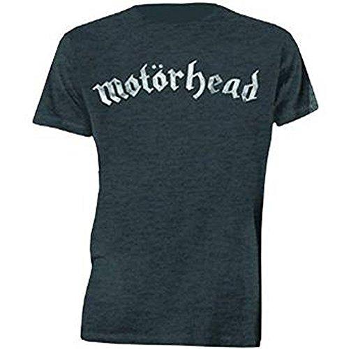 Motorhead Distressed Logo, Camiseta para Hombre, Gris Medium