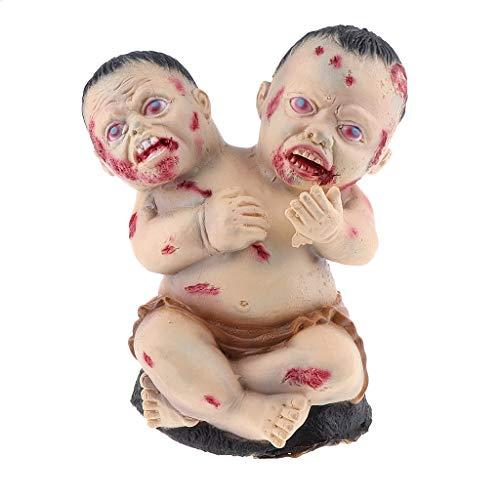 Baoblaze Schreckliche Doppelköpfe Zombie Pumpe Baby Halloween Deko Figur als Requisiten
