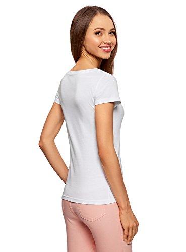 oodji Ultra Donna T-Shirt Basic in Cotone (5 PZ) Bianco (1000N)