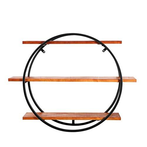 NLQZS-Y Industrieller Wind-Wand-dekorativer Rahmen/Schmiedeeisen-kreatives rundes Wand-Speicher-Regal A -