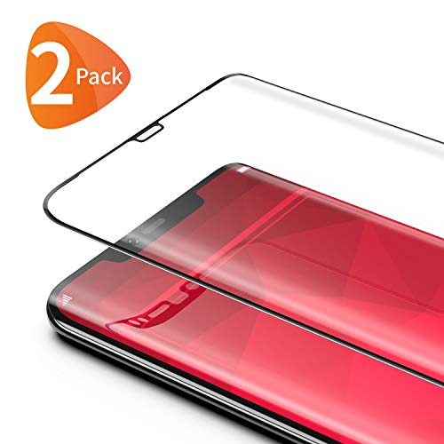 Bewahly für Panzerglas Schutzfolie für Huawei Mate 20 Pro [2 Stück], 3D Curved Full Screen Panzerglasfolie Ultra Dünn HD Bildschirmschutzfolie 9H Härte Folie für Huawei Mate 20 Pro - Schwarz