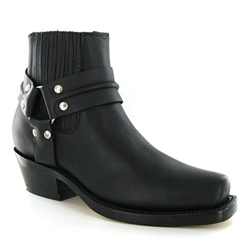 Grinder Mens Harness Lo Oily Full Leather Boots Schwarz