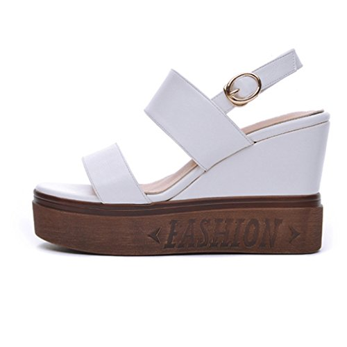 Damen Sandalen Keilabsatz Plateau Peep-Toe Slingback Rutschhemmend Sommerlich Atmungsaktiv Einfach Süß Freizeit Strand Schuhe Weiß